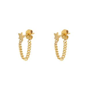 oorbel-goud-star-chain