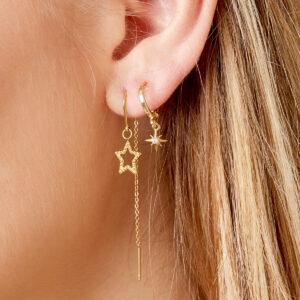 oorbel-goud-zilver-chain-hangende-ster