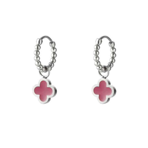 oorbel-zilver-klaver-roze